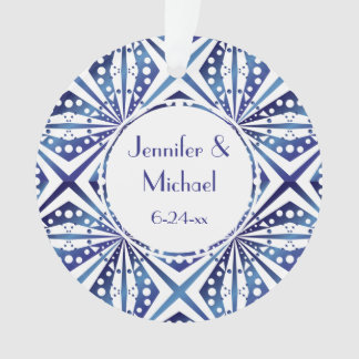 Customizable Blue and White Geometric Pattern Ornament