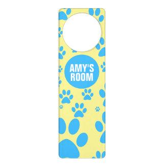 Customizable Blue and Yellow Paw Print Door Hangers