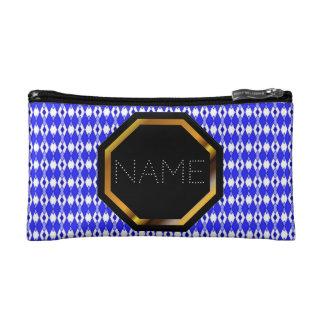 Customizable Blue Argyle Cosmetics Bag Cosmetic Bags