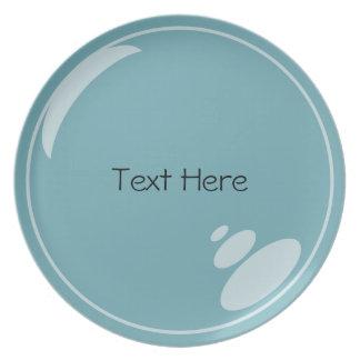 Customizable Blue Bubble Plate