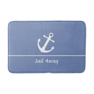 Customizable Blue Grey Nautical Bath Mat