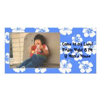 Customizable Blue Hibiscus Photocard Customised Photo Card