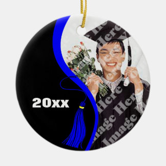 Customizable Blue Wave Graduation Ornament