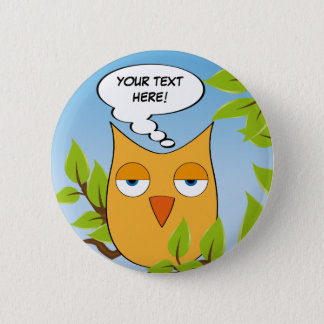 Customizable bored little owl - multiple colors 6 cm round badge