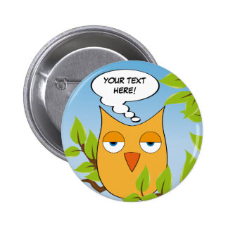 Customizable bored little owl - multiple colors 6 cm round badge