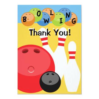 Customizable Bowling Thank You 13 Cm X 18 Cm Invitation Card