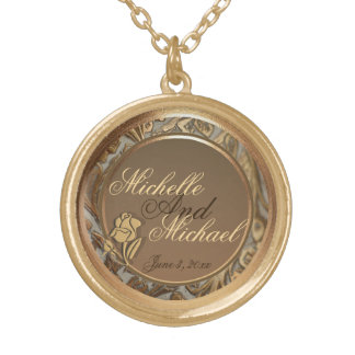 Customizable Bride Groom Gold Keepsake Necklace