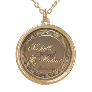 Customizable Bride Groom Gold Keepsake Necklace
