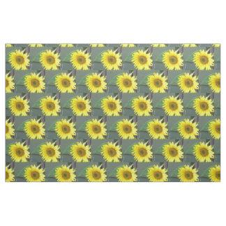 Customizable Bright Yellow Sunflower Fabric