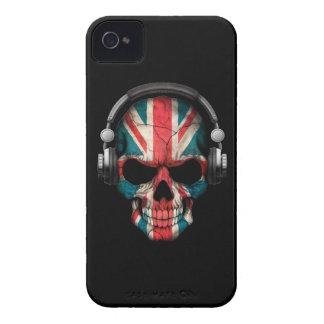 Customizable British Dj Skull with Headphones iPhone 4 Case-Mate Cases