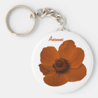 Customizable Brown Anemone Flower Keychain