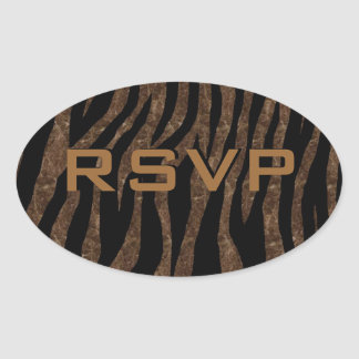 Customizable Brown Marble Zebra Oval Sticker