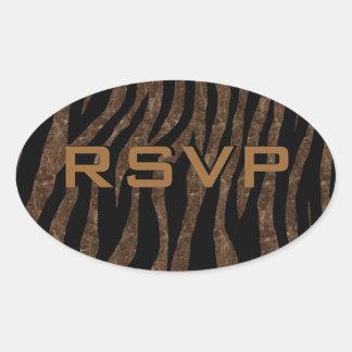 Customizable Brown Marble Zebra Oval Sticker