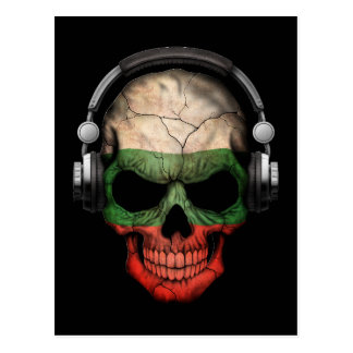 Customizable Bulgarian Dj Skull with Headphones Postcard