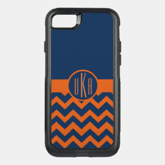 Customizable Burnt Orange and Navy Blue Monogram OtterBox Commuter iPhone 8/7 Case