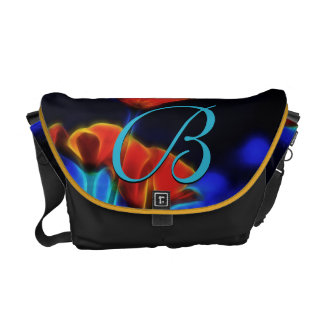 Customizable California Poppies Monogram  Rickshaw Commuter Bag
