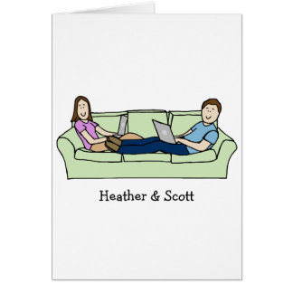 Customizable card- laptops couple
