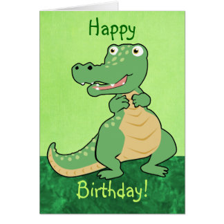 Customizable Cartoon Crocodile Card