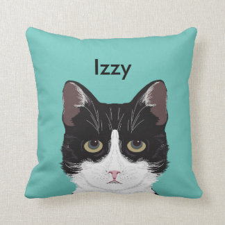 Customizable Cat Name - Black and White Tuxedo Cat Cushion
