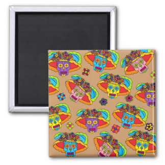 Customizable Catrina Sugar Skulls Square Magnet