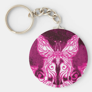Customizable Celtic/Tribal Pink Butterfly Key Ring