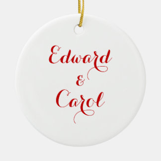 Customizable Ceramic Round Couple's Ornament