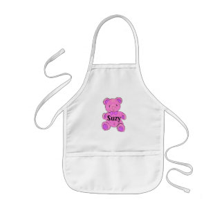 Customizable Child's Apron Pink Teddy Bear