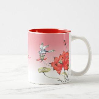 Customizable: Chinese flowers and bird Two-Tone Mug