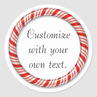Customizable Christmas candy cane circle stickers