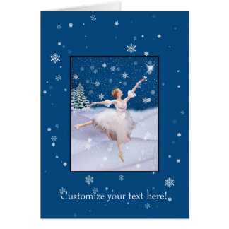 Customizable Christmas card,  Ballerina and Snow