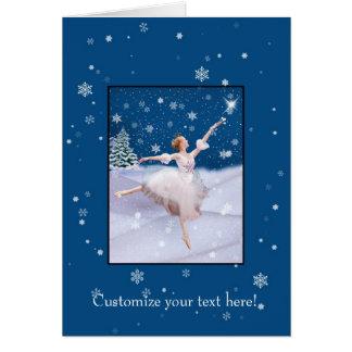 Customizable Christmas card,  Ballerina and Snow Greeting Card
