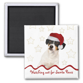 Customizable Christmas Dog Square Magnet