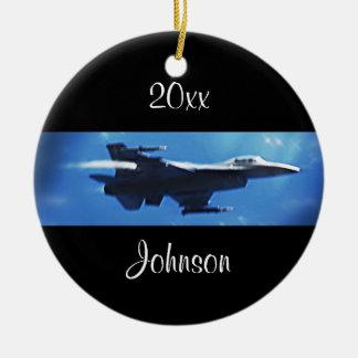 Customizable Christmas F16 Falcon Fighter Jet Round Ceramic Decoration