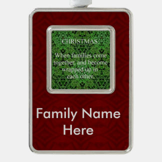 Customizable Christmas Family Quote Silver Plated Framed Ornament