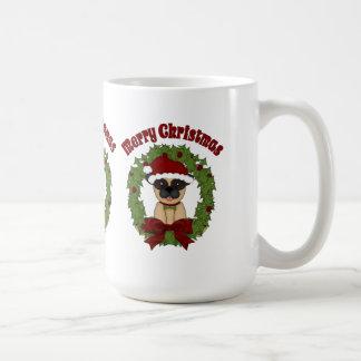Customizable Christmas Holiday Pug Wreath Coffee Mug