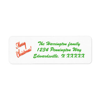 Customizable Christmas mail label red green Return Address Label