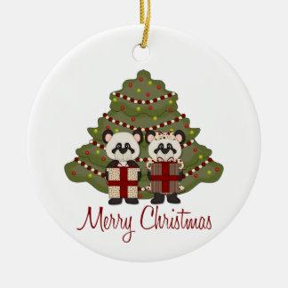 Customizable Christmas Panda Gifts and Tees Christmas Ornament