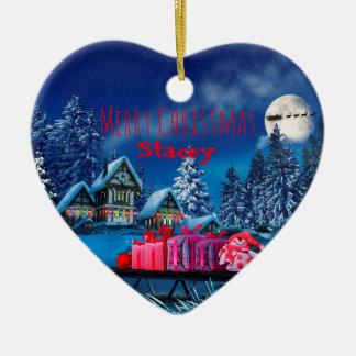 Customizable Christmas Village Heart Ornament