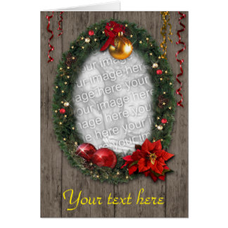 Customizable Christmas Wreath Greeting Cards