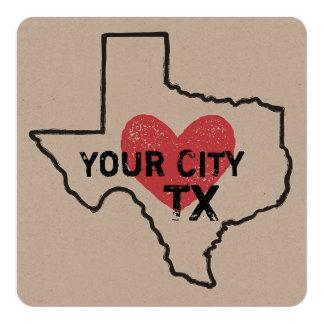 Customizable City Texas Card or Invitation