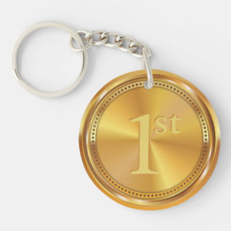 Customizable Classic Gold Medal. Key Ring