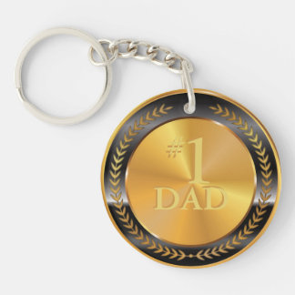 Customizable Classic Gold Medal. Number One Dad. Double-Sided Round Acrylic Key Ring