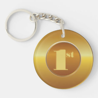 Customizable Classic Gold Medal. Number One. Double-Sided Round Acrylic Key Ring