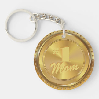Customizable Classic Gold Medal. Number One Mom. Double-Sided Round Acrylic Key Ring