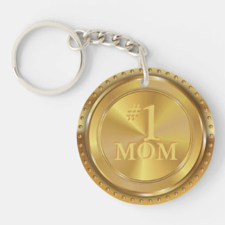 Customizable Classic Gold Medal. Number One Mom. Key Ring