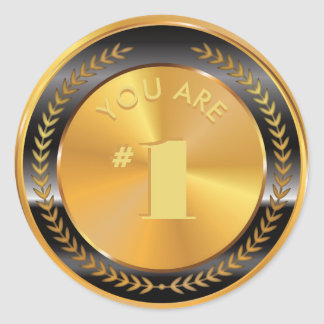 Customizable Classic Gold Medal. You are Number 1! Classic Round Sticker