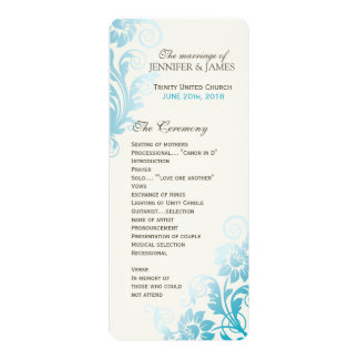 Customizable Classy Ombre Teal Wedding Program