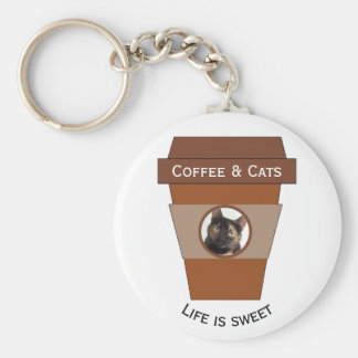Customizable Coffee & Cats - Life is Sweet Basic Round Button Key Ring