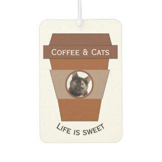 Customizable Coffee & Cats - Life is Sweet Car Air Freshener
