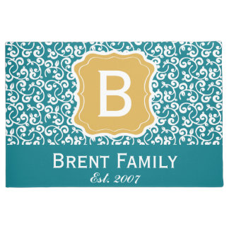 Customizable Color Floral Door Mat, Gold Teal Doormat